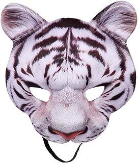 DishyKooker Halloween Carnival Party Masquerade EVA Half Face Animal Yellow White Tiger Mask White tiger mask-[Halloween n...