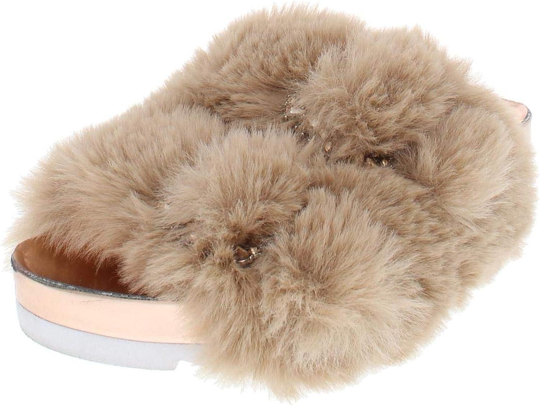 Inc Womens Alani Faux Fur Metallic Flat Sandals Tan 6 Medium (B,M)