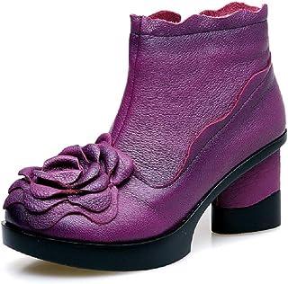 LingGT Block Boots Women Leather Flower Zipper Comfort Shoes (Color : Purple, Size : AU 6.5)