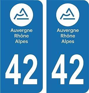 Safirmes Département 42 2 Aufkleber, Nummernschild, Auvergne 2018