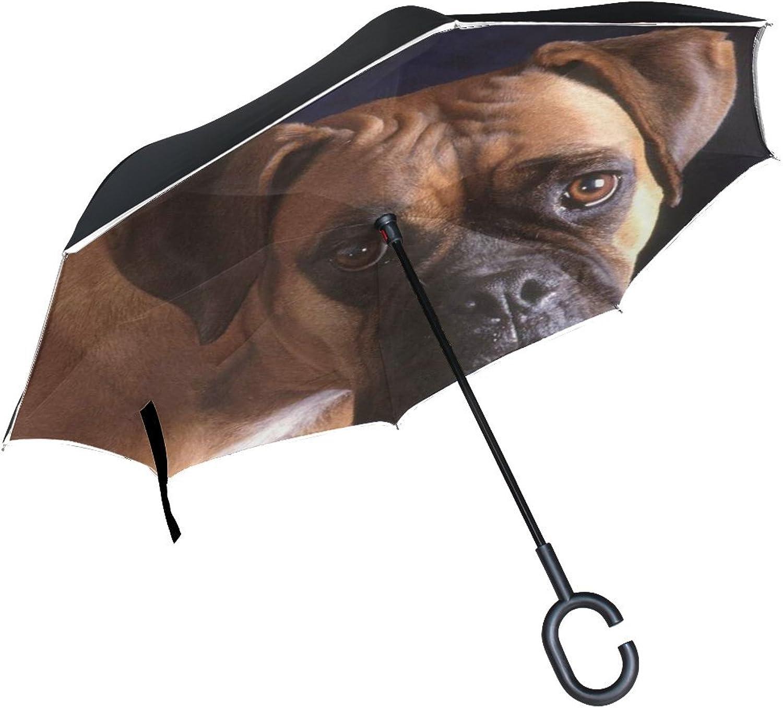 Animal Dog Boxer Yellow Black Mix Pet Animated Real Ingreened Umbrella Large Double Layer Outdoor Rain Sun Car Reversible Umbrella