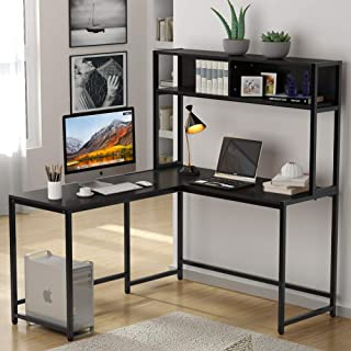 Tribesigns L-Shaped Desk with Hutch, 55 Inches Corner Computer Desk Gaming Table Workstation with Storage Bookshelf for Home Office, Black