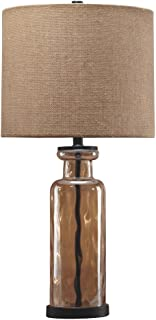 Signature Design by Ashley - Laurentia Glass Table Lamp with Drum Shade - Champagne Toned