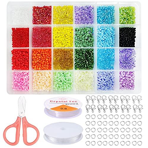 Cuentas de Colores para Los niños,cuentas de cristal,Conjunto de Cuentas de Colores,Herramienta de Abalorios,bolitas para hacer pulseras (7500)