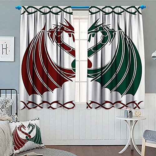 Celtic Decor Collection Blackout Window Curtain Dragons Themed Design Mythical Early Medieval Scandinavian Celtic Castle Knights Print Customized Curtains 52'x63' Green Red