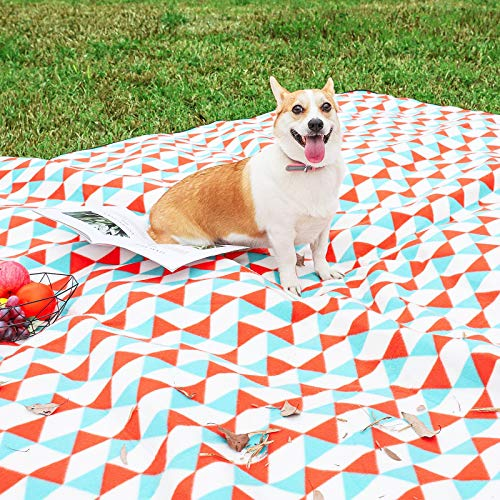 Yorbay Picknickdecke 200 x 300 cm XXL Fleece wasserdicht Decke mit Tragegriff Mehrweg (Orange blau)