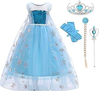 فستان أميرة الثلج السا تنكري فاخر بأكمام طويلة للبنات الصغار من لوفلي ميرميد