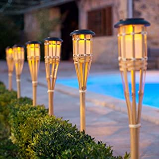 Mgxdd Solar Bamboo Tiki Torch Flame Warm LED Amber Flickering Light Landscape