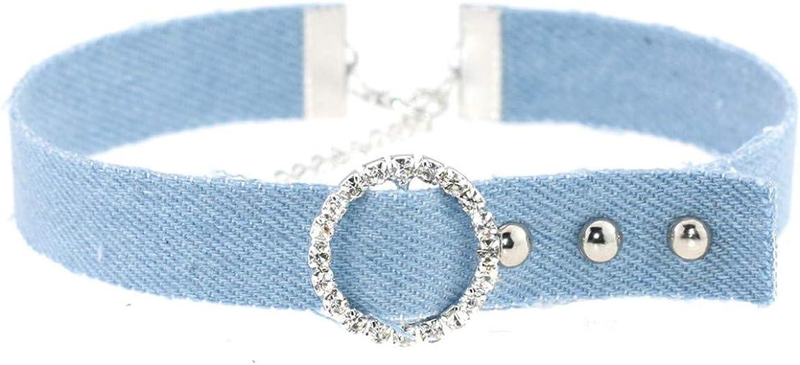 XueXian Women's Denim Belt Shaped Choker Necklace Collar