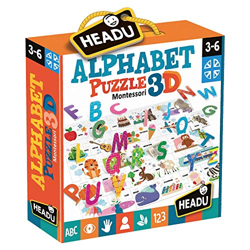 Headu- Montessori Alphabet Puzzle 3D (IT20973)