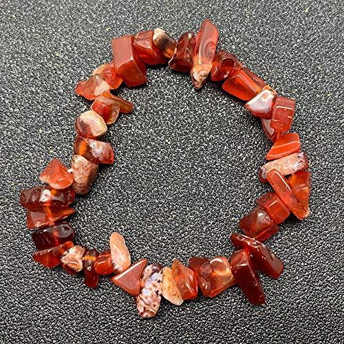Shangwang - Pulsera para mujer irregular, piedra natural a mano, joyas de moda, piedra de luna y cristal rojo ágata