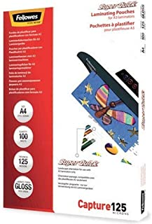 Fellowes Capture A4 125 Micron Super Quick Glossy Laminating Pouches (Pack of 100)