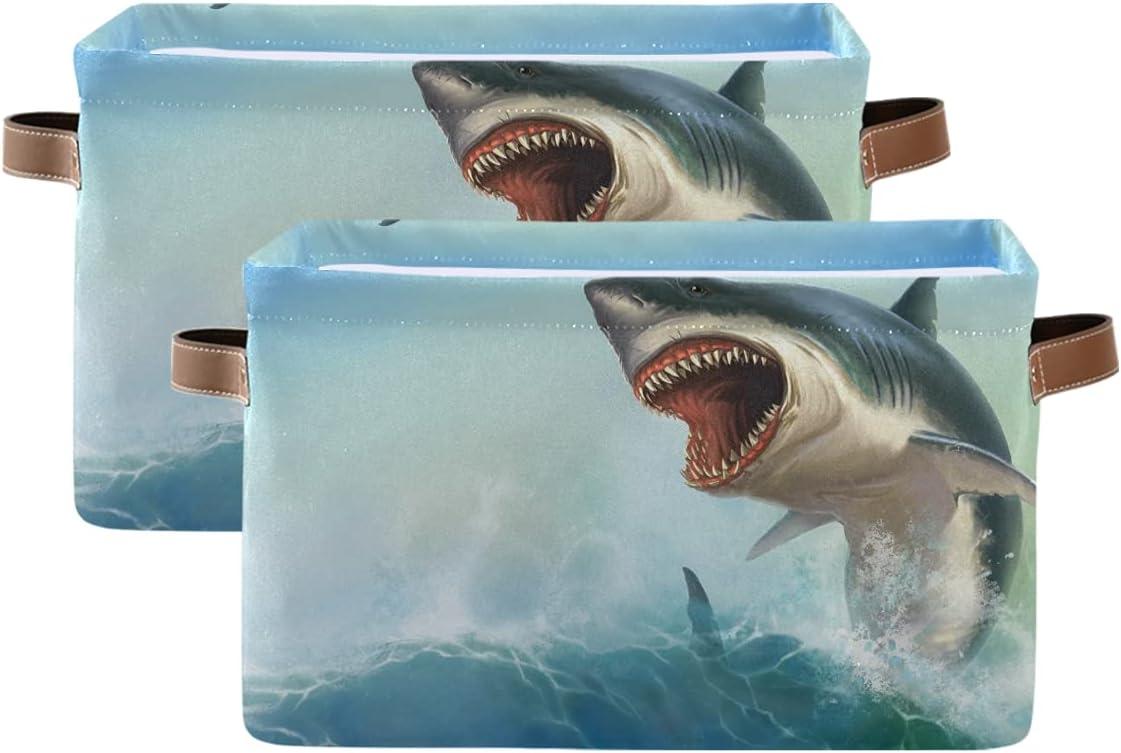 ADAKing Max 53% OFF Storage Basket Animal Shark Ocean Print 2 Pc Fish Canvas free