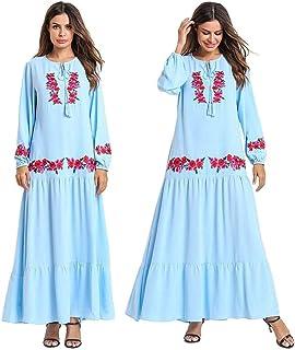 Ethnic Style Muslim Women Long Maxi Dress Robe Abaya Embroidery Flower Jilbab Islamic Dubai O-neck Loose Ankle-Length Dresses