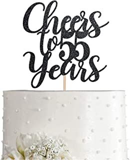 55 Black Glitter Happy 55th Birthday Cake Topper, Cheers to 55 Years Party Cake Topper Decorations, Supplies