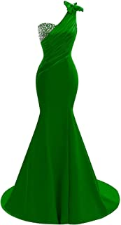 Lily Wedding Womens One Shoulder Satin Mermaid Prom Dresses 2018 Long Formal Evening Ball Gowns D44