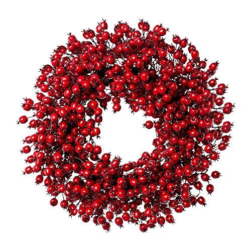 wohnfuehlidee Künstlicher Hagebuttenkranz, Farbe rot, Ø ca. 55 cm