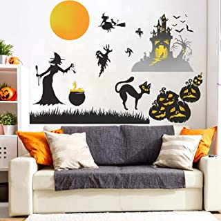 Youyouyu Happy Halloween Wall Stickers Pumpkin Spider Bat Window Home Party Decoration DIY Removable Wall Decal for Living RoomClassroom Office Nursery Decoration (5#Halloween)