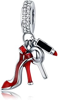 XOYOYZU 925 Sterling Silver High-Heeled Shoes Dangle Charms Clear CZ Charms Fit Snake Chain Bracelet and Necklace