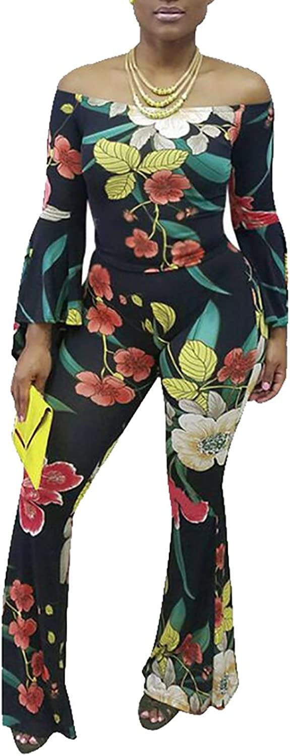 CRYYU Women's Floral Two Pieces Outfits Off Shoulder Crop Top and Pant Set