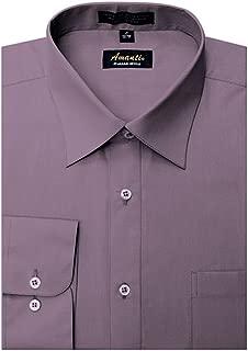 Men's Cotton Dress Shirt Long Sleeve Button Classic Collar Fit Solid Color Size
