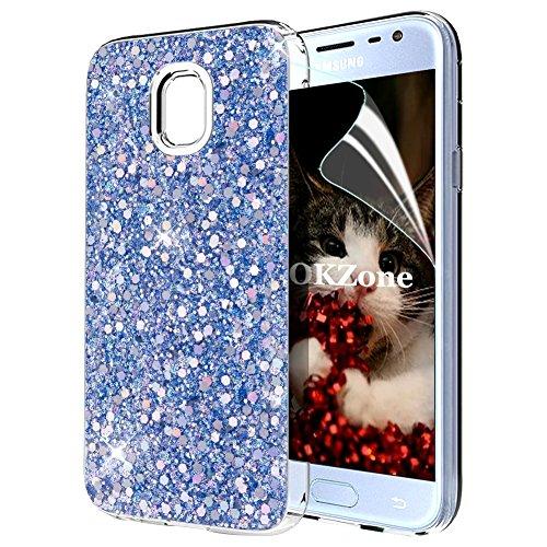 OKZone Cover Samsung Galaxy J3 2017, Custodia Lucciante con Brillantini Glitters Ultra Sottile Designer Case Cover per Samsung Galaxy J3 2017 (Blu)