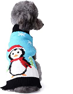 Tengzhi Soft Cozy Dog Sweater Classic Xmas Pet Casual Outfit Costume Fashion Holiday Sweater Knit Jacket for Schnauzer Bulldog Puppy Clothes for Christmas (Penguin with Xmas Hat, XL)