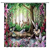 Fantasy Fairy Forest Shower Curtain Hummingbird Flower Peacock Elks by The River Decor Music Creatures Jungle for Kids Girls,Fabric Bathroom Set Hooks Included 70x70 Inch,Lilac
