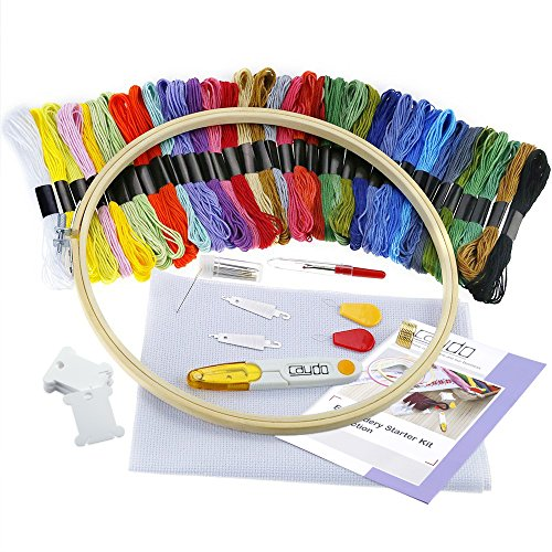 Caydo Full Range of Embroidery Starter Kit with Instructions, Bamboo Embroidery Hoop, Threads, Classic Reserve Aida and Tools Kit for Beginners