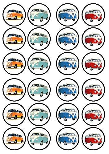 VW Campervan, Essbare PREMIUM Dicke GEZUCKERTE Vanille, Wafer Reispapier Cupcake Toppers/Dekorationen