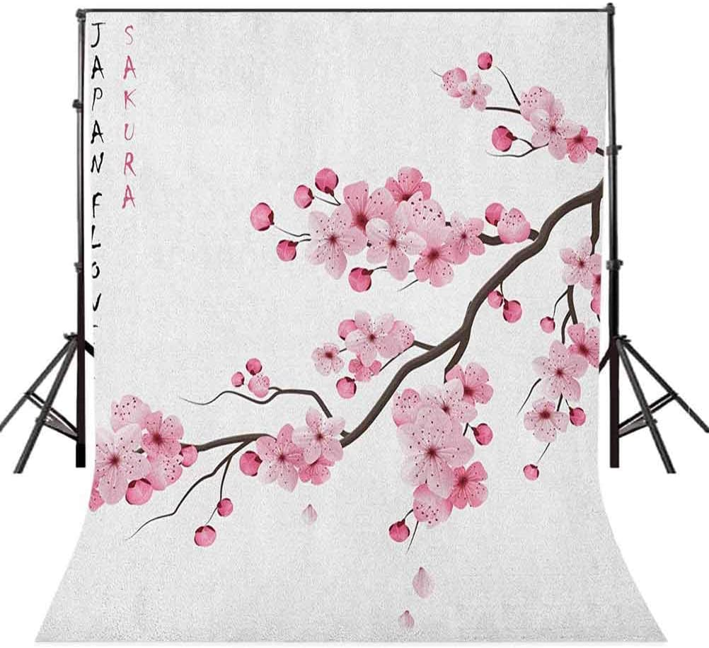 8x12 FT Vinyl Photography Backdrop,Illustration of Japanese Cherry Branches with Blooming Flowers Spring Themed Boho Art Background for Graduation Prom Dance Decor Photo Booth Studio Prop Banner