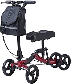ELENKER Knee Walker Economy Steerable Knee Scooter Ultra Compact & Portable Crutch Alternative for Ankle/Foot/Leg Injury or Surgery (Red)