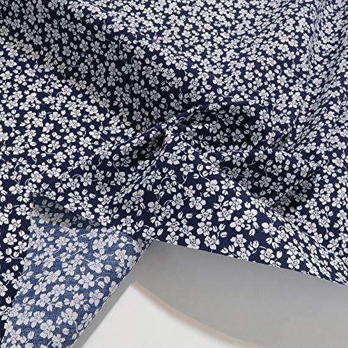 TOLKO Baumwollstoff aus Oeko-Tex Baumwolle   Bunt kräftige Farben   weiche Baumwoll-Popeline zum Nähen Dekorieren   Kleiderstoff Dekostoff Bezugsstoff Meterware 50cm (Blau weiße Blumen)