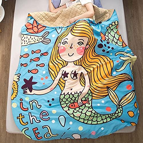 Apto para alérgicos Edredón, La impresión de dibujos animados de verano que imprime la colcha delgada, el almuerzo del jardín de infantes, la colcha Pequeña se puede lavar-3-17_220x240cm / 86.6x94.5 '
