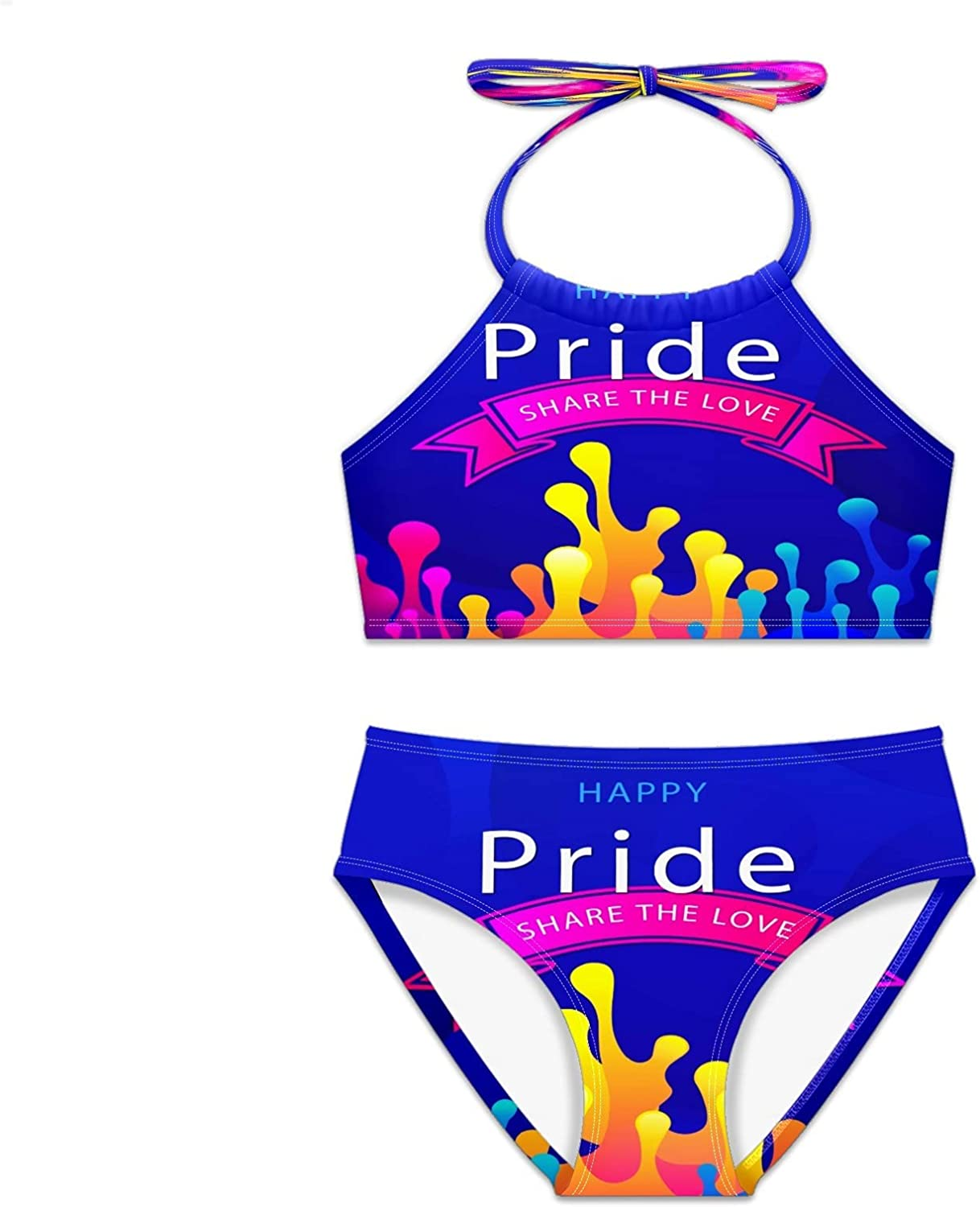Girls Swimsuit Happy Pride Day Social Pieces Large-scale sale Recommendation Se Two Bikini Media