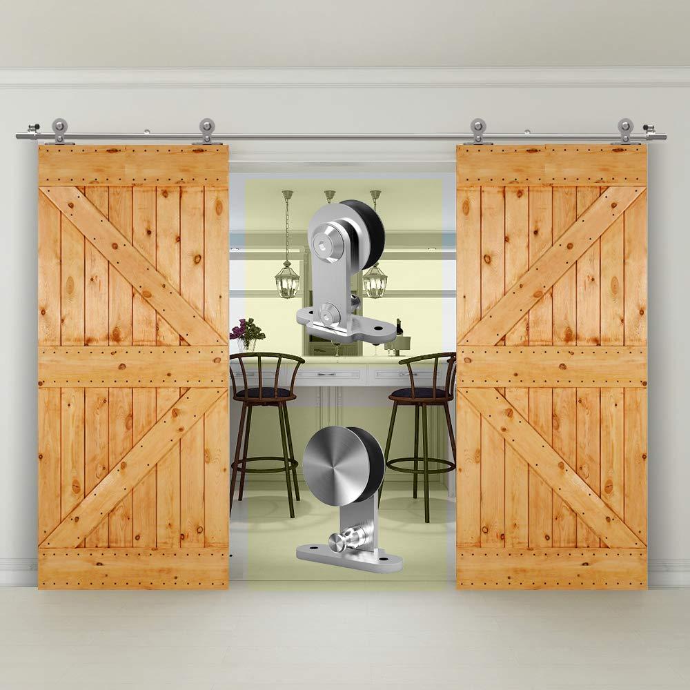 CCJH 10FT-305cm Acero Inoxidable Herraje para Puerta Corredera Kit de Accesorios para Puertas Correderas Rueda Riel Juego para Dos Puertas de Madera: Amazon.es: Bricolaje y herramientas