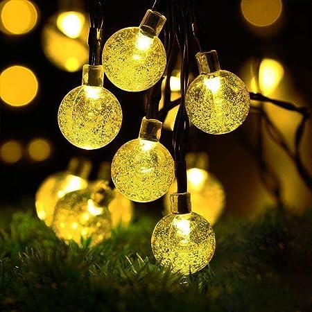 Cshare ソーラー LED ストリングライト イルミネーションライト 50電球 7M IP65防水 8モード 夜間自動点灯 キャンプ用 ガーランドライト クリスマス/ハロウィン/パーティー/バレンタインデー/新年/祝日/結婚式/学園祭屋外/室外/室内/庭対応 ソーラーパネル 飾りライト