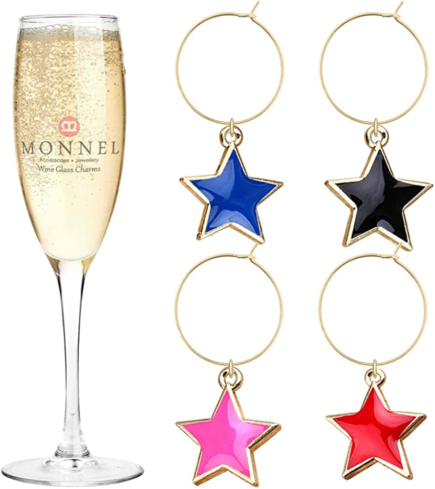 P453 Assorted OFFicial shop Stars Deluxe Wine Charms Glass Velv with Party Marker for