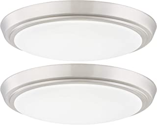 GRUENLICH LED Flush Mount Ceiling Lighting Fixture, 11 Inch Dimmable 19W (125W Replacement) 1200 Lumen, Metal Housing with Nickel Finish, ETL and Damp Location Rated, 2-Pack (3000K-Warm White)