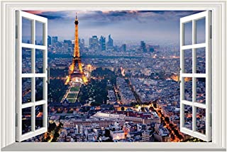 24 inches x 16 inches 3D Full Colour High Definition London Paris Night Eiffel Tower Scenery City Night False Faux Window ...