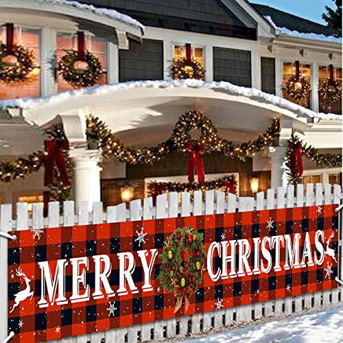 Merry Christmas Banner Christmas Eve Signs Huge Banner Decorations Giant Happy New Years Supplies Fence Yard Sign Outdoor Decorations Photo Backdrop 6 Feet