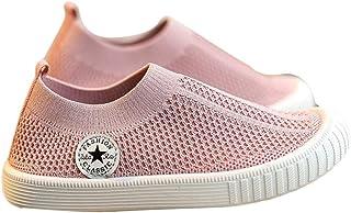 Hopscotch Girls Grid Cloth Logo Applique Slip Ons in Pink Color