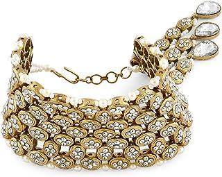 Zaveri Pearls Shimmering Austrian Diamonds & Pearls Bracelet For Women-ZPFK7240