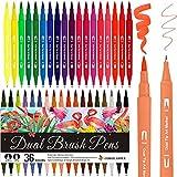 Rotuladores Lettering Brush Pen, 36 Colores, Acuarelables Marcadores para Adultos, Bullet Journal, Caligrafía, Libros para Colorear, Arte Dibujo Punta Pincel 1-2mm y Punta Fina 0.4mm