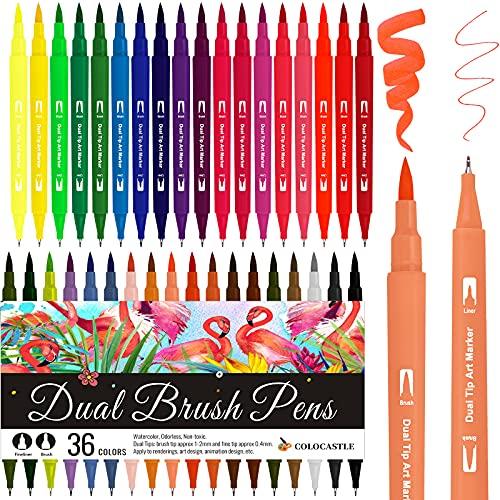 Rotuladores Lettering, 36 Colores Rotuladores Punta Pincel 1-2mm y Punta Fina 0.4mm Acuarelables Marcadores Brush Pen para Adultos, Bullet Journal, Caligrafía, Libros para Colorear, Arte Dibujo