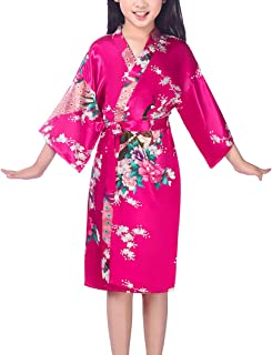 Lovacely Girls Satin Floral Kimono Robe Peacock Flower Sleepwear Bathrobe Nightgown for Spa Wedding Birthday Party