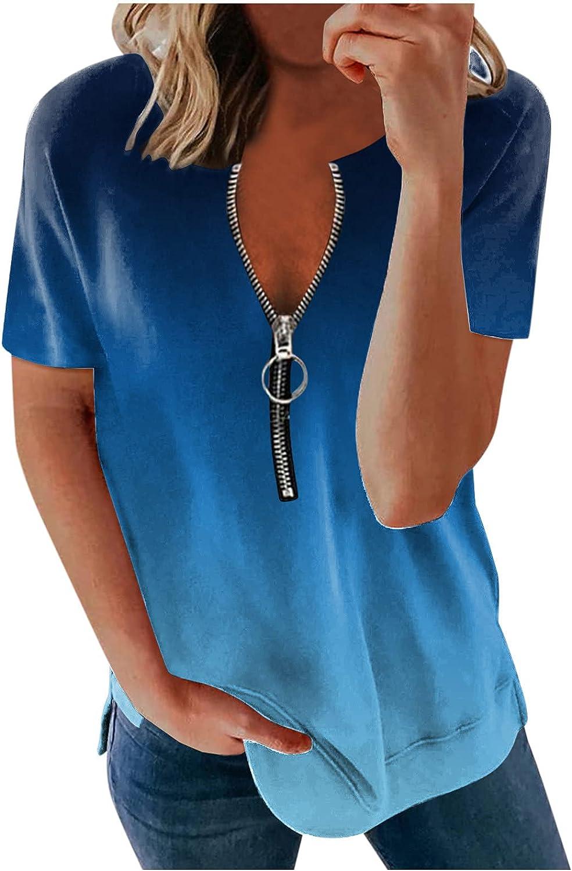 AODONG Shirts for Women, Womens Summer Tops Zipper Gradient T-Shirts Casual Short Sleeve Bouse Tops Tunics Tee Top