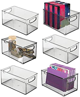 "$46 » mDesign Stackable Plastic Storage Bin Container with Handles for Home Office - Holds Gel Pens, Erasers, Tape, Pens, Pencils, Markers, Notepads, Highlighters, Staplers - 5"" High, 6 Pack - Smoke Gray"