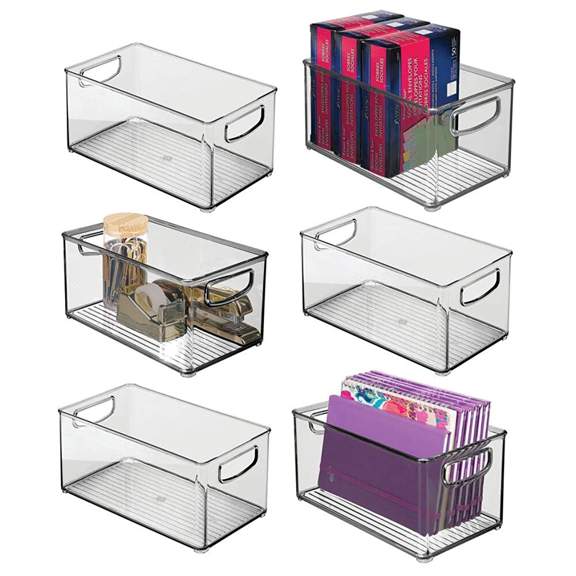mDesign Stackable Plastic Storage Bin Container with Handles for Home Office - Holds Gel Pens, Erasers, Tape, Pens, Pencils, Markers, Notepads, Highlighters, Staplers - 5