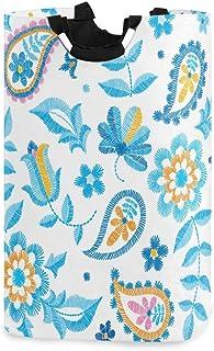 Mnsruu Panier à linge pliable avec poignées Motif floral Bleu